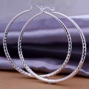 Large Sterling Silver 925 Plated Hoop Earrings